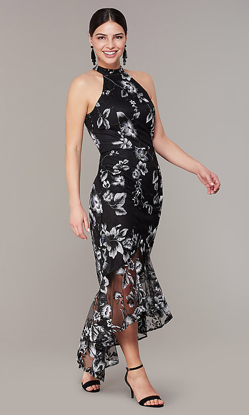 Image of high-low embroidered long black/white party dress. Style: JU-MA-262875 Front Image