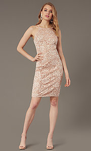 Image of sequin-lace short wedding-guest dress. Style: JU-MA-262406 Front Image