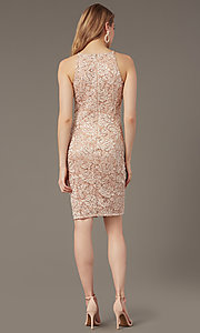 Image of sequin-lace short wedding-guest dress. Style: JU-MA-262406 Back Image