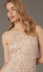 Image of sequin-lace short wedding-guest dress. Style: JU-MA-262406 Detail Image 1