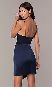 Image of v-neck short navy wedding-guest dress by Simply. Style: MT-SD-9833 Back Image