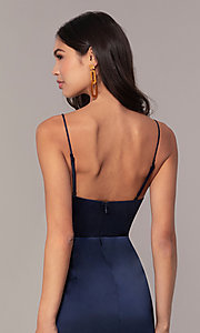 Image of v-neck short navy wedding-guest dress by Simply. Style: MT-SD-9833 Detail Image 2