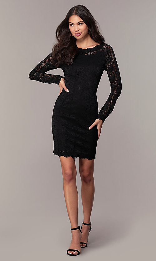 Image of short lace little black party dress by Simply. Style: MT-SD-9842 Detail Image 3