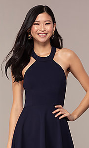 Image of short navy blue wedding-guest dress by Simply. Style: MCR-SD-2567 Detail Image 1