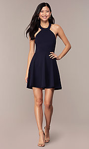 Image of short navy blue wedding-guest dress by Simply. Style: MCR-SD-2567 Detail Image 3