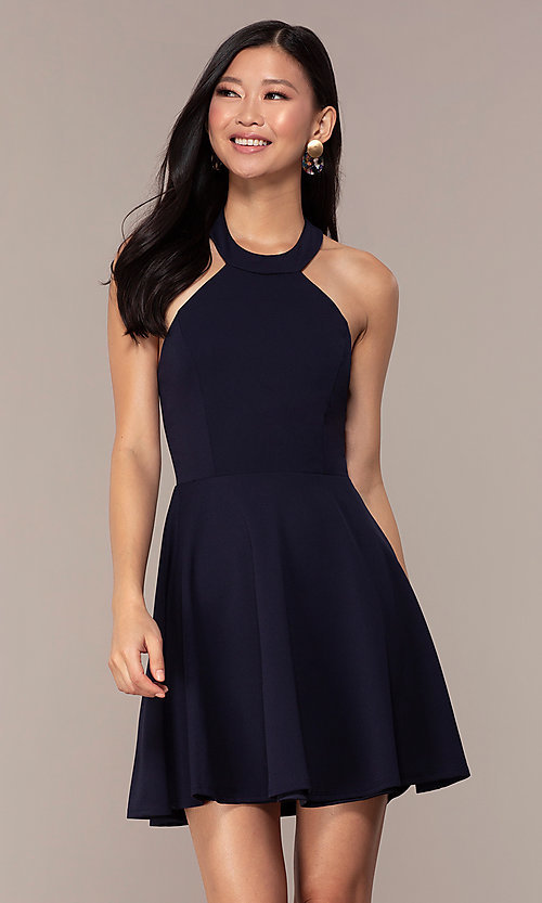 Image of short navy blue wedding-guest dress by Simply. Style: MCR-SD-2567 Front Image
