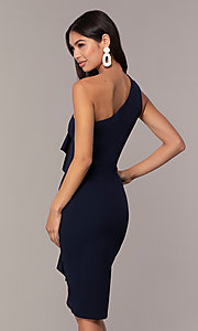 Image of navy short one-shoulder wedding-guest dress by Simply. Style: MCR-SD-2513 Back Image