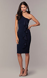 Image of navy short one-shoulder wedding-guest dress by Simply. Style: MCR-SD-2513 Detail Image 3