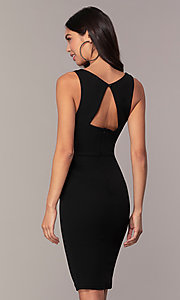 Image of knee-length cut-out little black dress by Simply. Style: MCR-SD-2557 Back Image