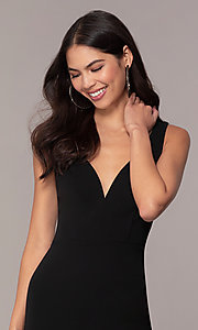 Image of knee-length cut-out little black dress by Simply. Style: MCR-SD-2557 Detail Image 1