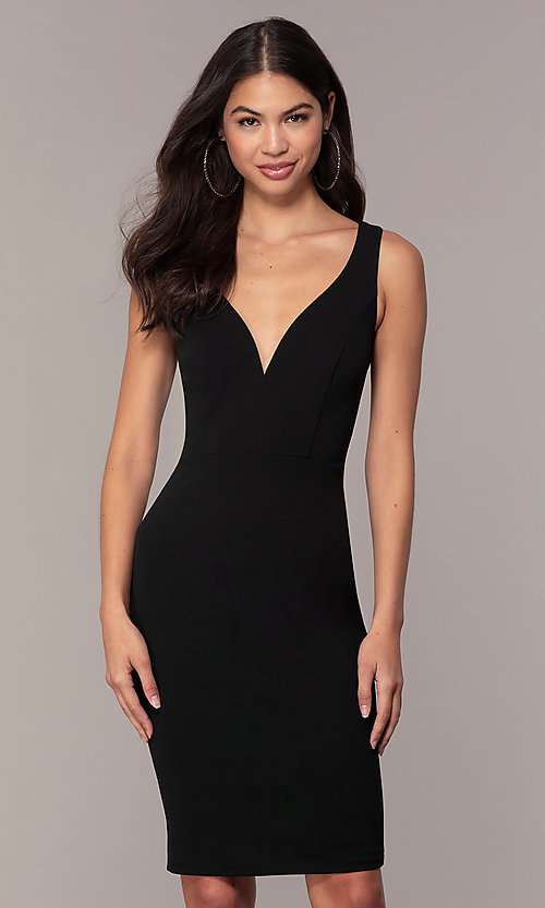 Image of knee-length cut-out little black dress by Simply. Style: MCR-SD-2557 Front Image