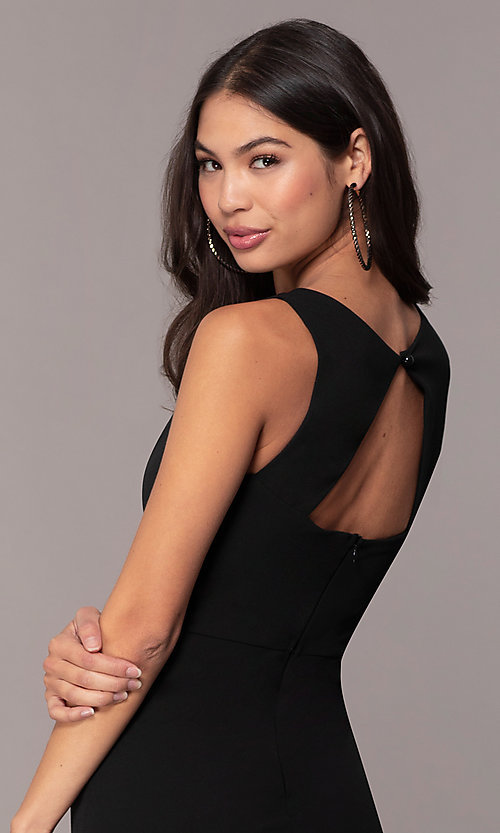 Image of knee-length cut-out little black dress by Simply. Style: MCR-SD-2557 Detail Image 2