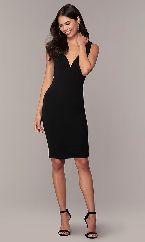 Image of knee-length cut-out little black dress by Simply. Style: MCR-SD-2557 Detail Image 3