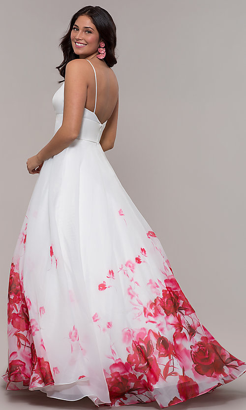 Image of v-neck floral-print long ball gown by PromGirl. Style: BL-FL-PL-190501-1 Back Image