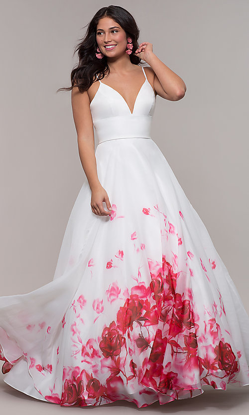 Image of v-neck floral-print long ball gown by PromGirl. Style: BL-FL-PL-190501-1 Detail Image 3