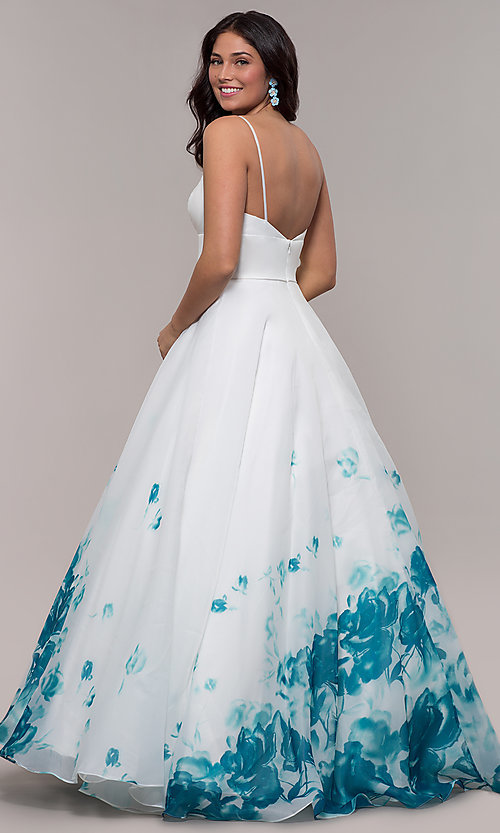 Image of v-neck floral-print long ball gown by PromGirl. Style: BL-FL-PL-190501-1 Detail Image 5
