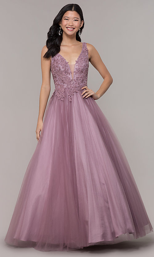 Image of ball-gown-style long embellished-bodice prom dress. Style: BL-FL-PL-19052-1 Detail Image 3