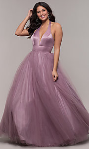 Image of long dusty mauve halter prom gown by PromGirl. Style: BL-FL-PL-19054-1 Front Image