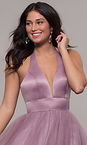 Image of long dusty mauve halter prom gown by PromGirl. Style: BL-FL-PL-19054-1 Detail Image 1