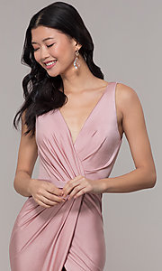 Image of long faux-wrap ruched v-neck prom dress by PromGirl. Style: BL-PL-19300 Detail Image 1