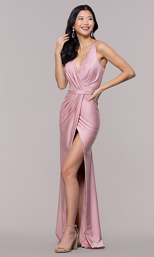 Image of long faux-wrap ruched v-neck prom dress by PromGirl. Style: BL-PL-19300 Front Image