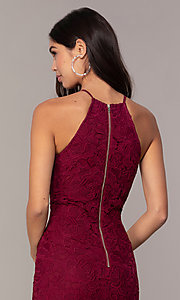 Image of short burgundy red lace wedding-guest dress by Simply. Style: JTM-SD-JMD6353 Detail Image 2