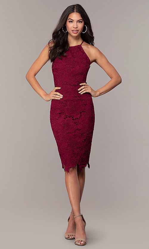 Image of short burgundy red lace wedding-guest dress by Simply. Style: JTM-SD-JMD6353 Detail Image 3