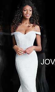 Image of sparkly off-the-shoulder long Jovani prom dress. Style: JO-60122 Detail Image 1