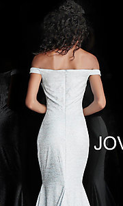 Image of sparkly off-the-shoulder long Jovani prom dress. Style: JO-60122 Detail Image 2