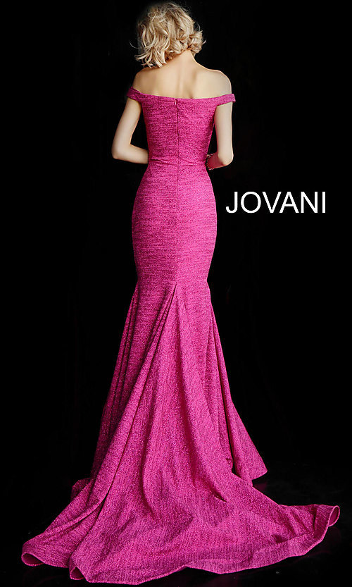 Image of sparkly off-the-shoulder long Jovani prom dress. Style: JO-60122 Detail Image 4