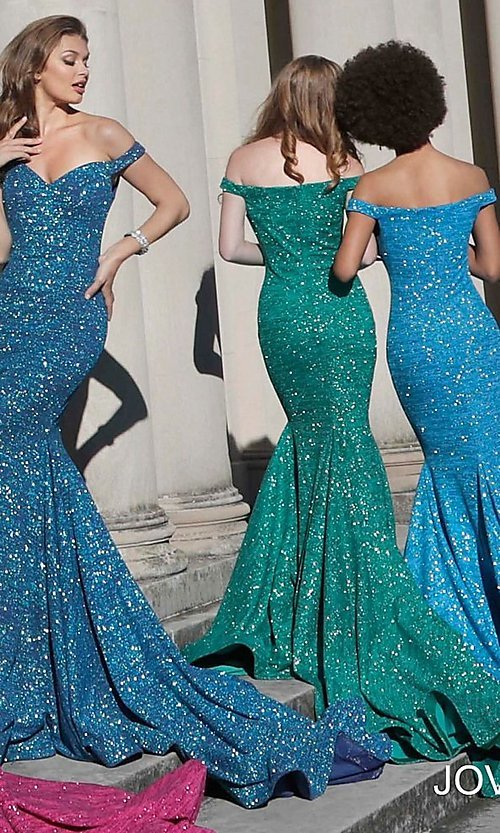 Image of sparkly off-the-shoulder long Jovani prom dress. Style: JO-60122 Detail Image 5