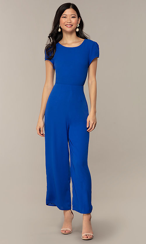Image of wedding-guest short-sleeve party jumpsuit.  Style: VE-894-773514 Front Image