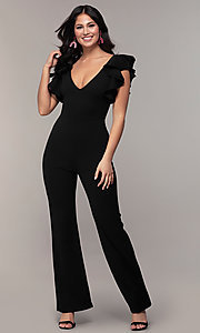 Image of low-v-neck party jumpsuit with double ruffles. Style: TOP-J3119 Front Image