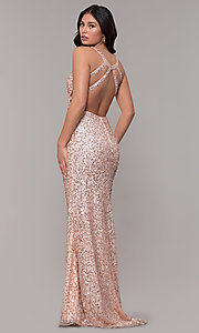Image of sequin-mesh long sparkling prom dress by PromGirl. Style: PV-PL-129 Back Image