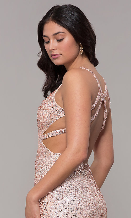 Image of sequin-mesh long sparkling prom dress by PromGirl. Style: PV-PL-129 Detail Image 2