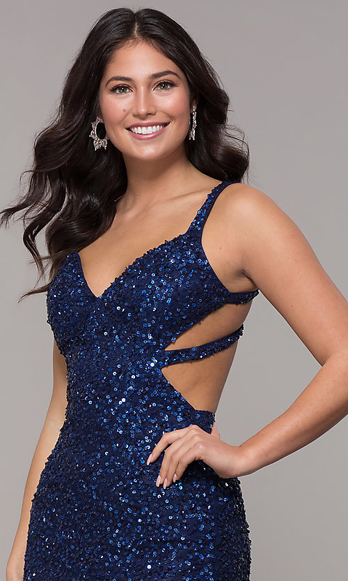Image of sequin-mesh long sparkling prom dress by PromGirl. Style: PV-PL-129 Detail Image 6