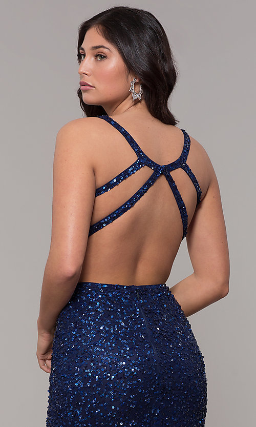 Image of sequin-mesh long sparkling prom dress by PromGirl. Style: PV-PL-129 Detail Image 7