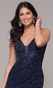 Image of long v-neck beaded prom dress by PromGirl. Style: PV-PL-130 Detail Image 1
