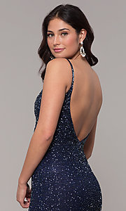 Image of long v-neck beaded prom dress by PromGirl. Style: PV-PL-130 Detail Image 2