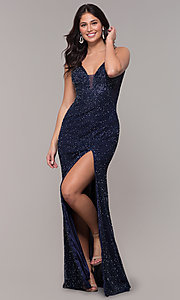 Image of long v-neck beaded prom dress by PromGirl. Style: PV-PL-130 Detail Image 3