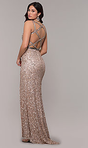 Image of caged-back long v-neck prom dress by PromGirl. Style: PV-PL-135 Detail Image 5