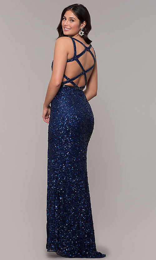 Image of caged-back long v-neck prom dress by PromGirl. Style: PV-PL-135 Front Image