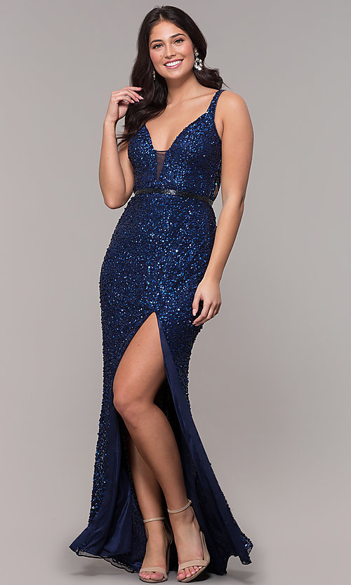Image of caged-back long v-neck prom dress by PromGirl. Style: PV-PL-135 Detail Image 3