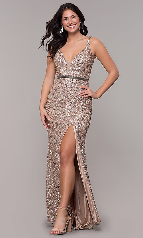 Image of caged-back long v-neck prom dress by PromGirl. Style: PV-PL-135 Detail Image 4