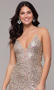 Image of tied-back v-neck long sequin prom dress by PromGirl. Style: PV-PL-136 Detail Image 1