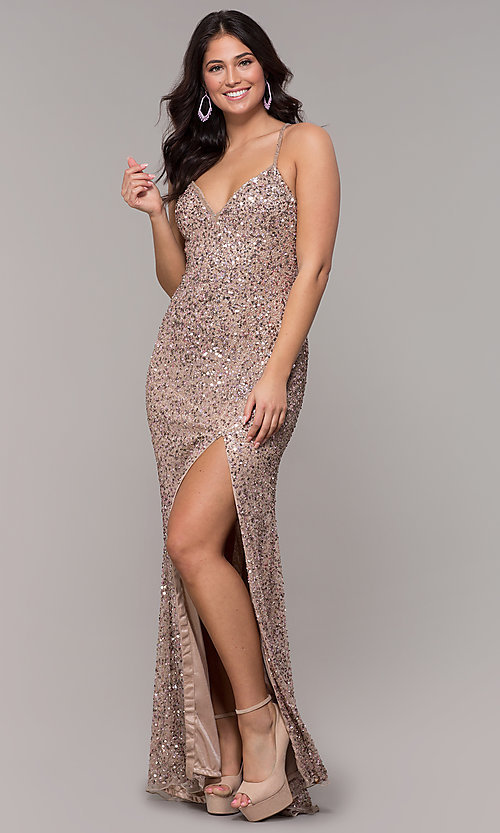 Image of rose gold long v-neck sequin prom dress by PromGirl. Style: PV-PL-141 Detail Image 3