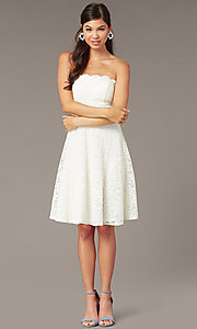 Image of strapless ivory lace short a-line party dress. Style: JU-10394D Front Image