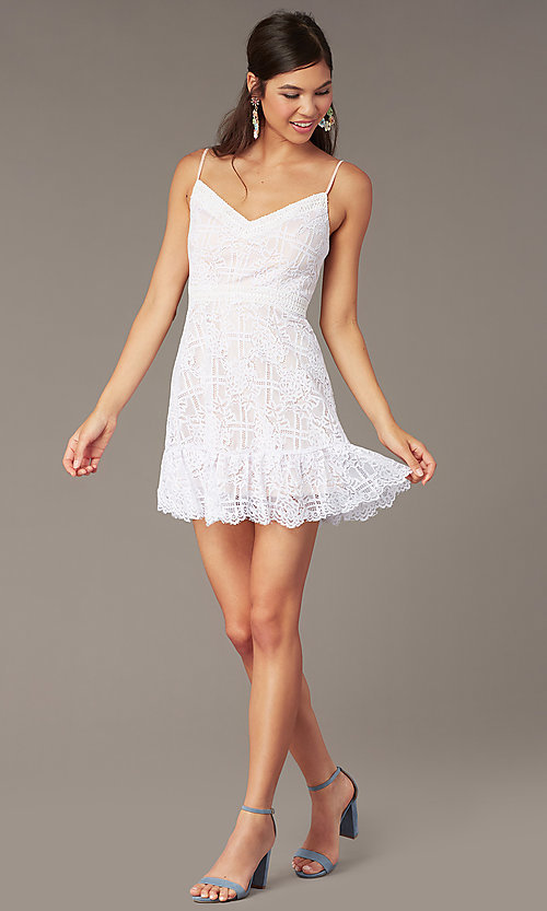 Image of short lace graduation party sundress in ivory. Style: JU-11248 Front Image