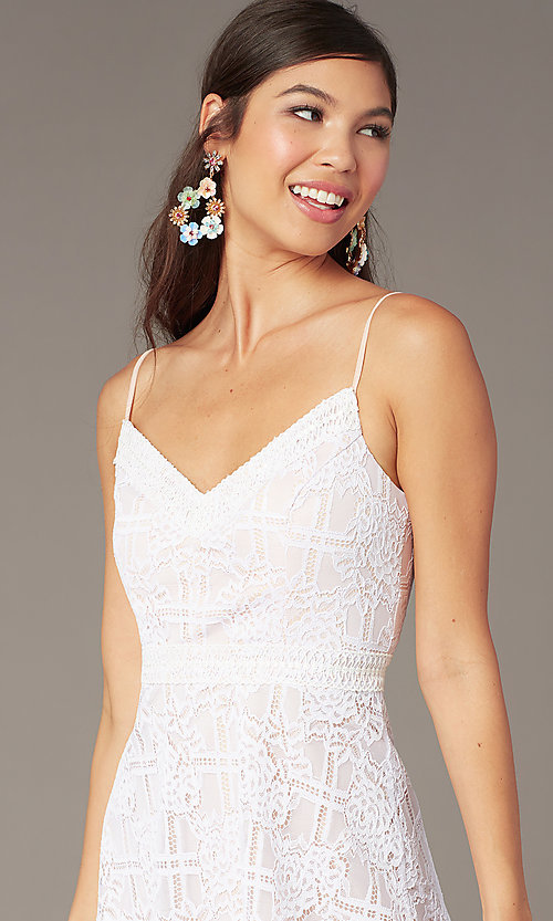 Image of short lace graduation party sundress in ivory. Style: JU-11248 Detail Image 1