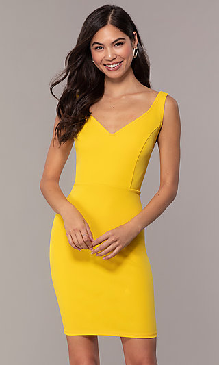 Short V-Neck Sheath Party Dress with Scoop Back